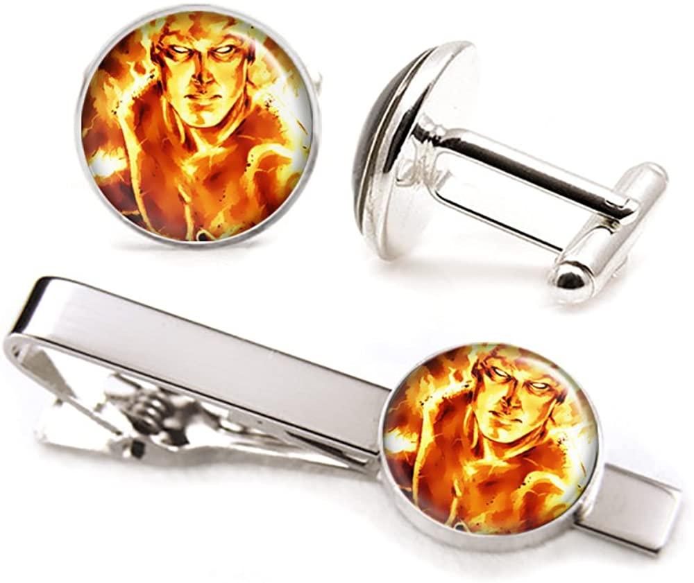 SharedImagination Fantastic Four Human Torch Cufflinks, Marvel Fantastic 4 Tie Clip, Avengers Tie Tack, Johnny Storm, Superhero Wedding