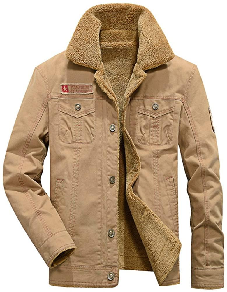 Frlensalic Men Warm Add Velvet Thick Jacket Army 5 Star Cotton Winter Coat