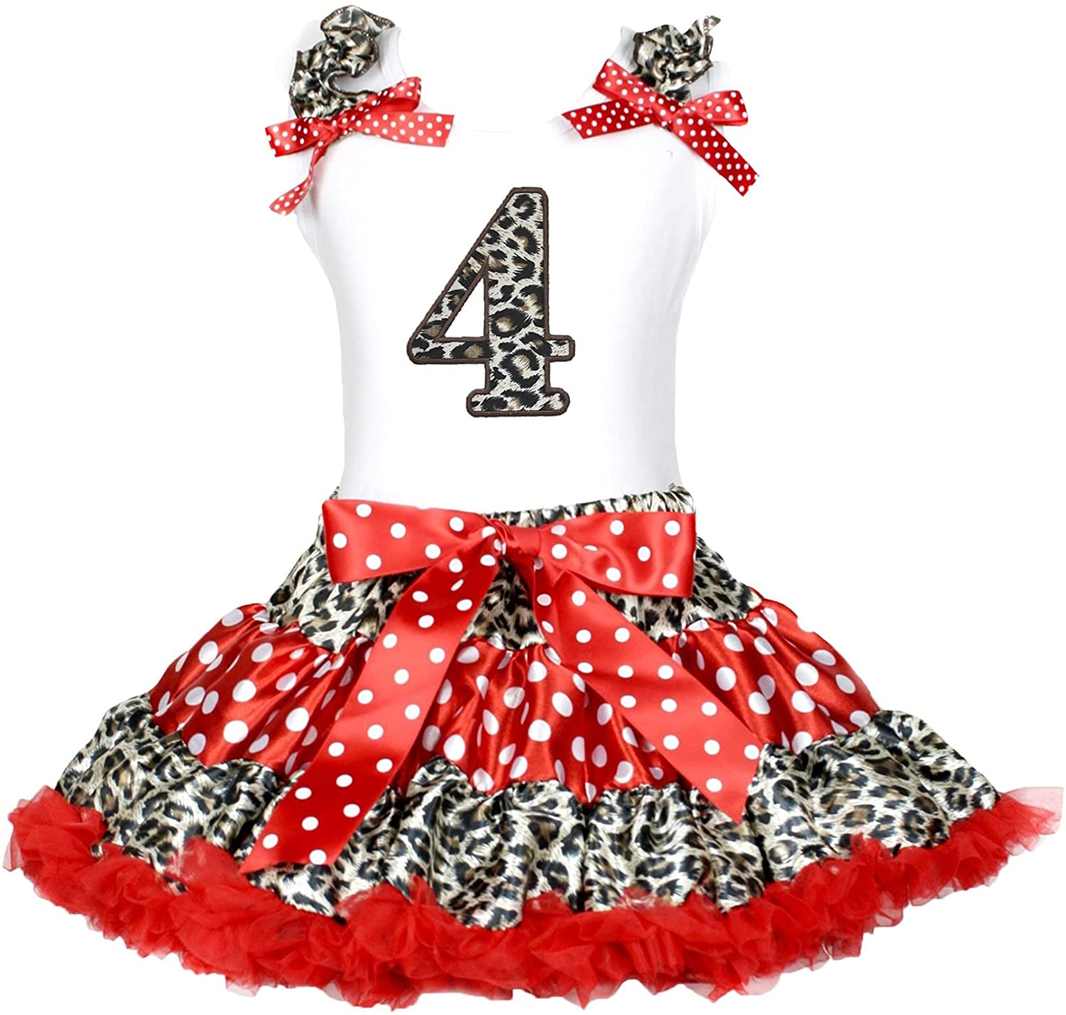 Petitebella Leopard 4th White Shirt Red Leopard Polka Dots Skirt Outfit 1-8y