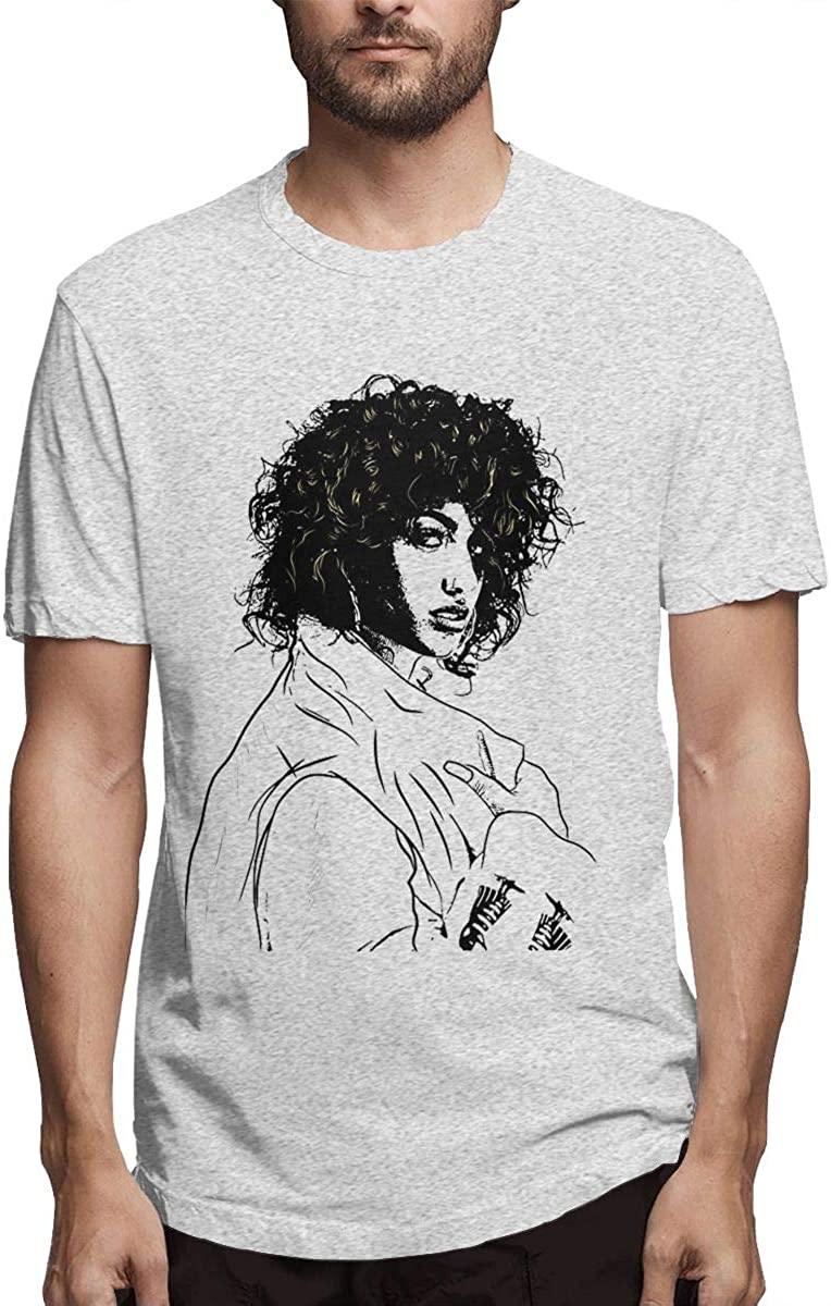 HAOYINGJUN Man's Cotton Shirt with Short Sleeves is Comfortable Gray(L)