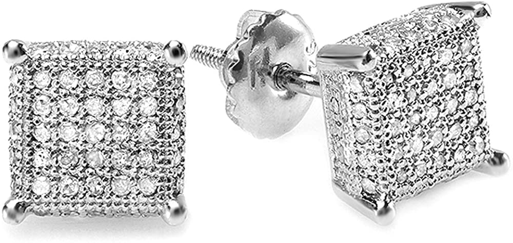 Dazzlingrock Collection 0.55 Carat (ctw) Round Diamond Dice Shape Mens Iced Stud Earrings 1/2 CT, Sterling Silver