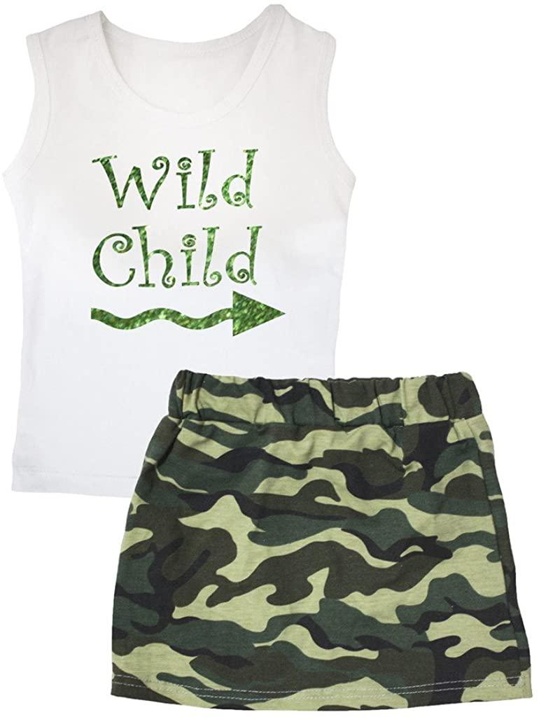 Petitebella Bling Wild Child White Vest Green Camouflage Skirt Set 1-8y