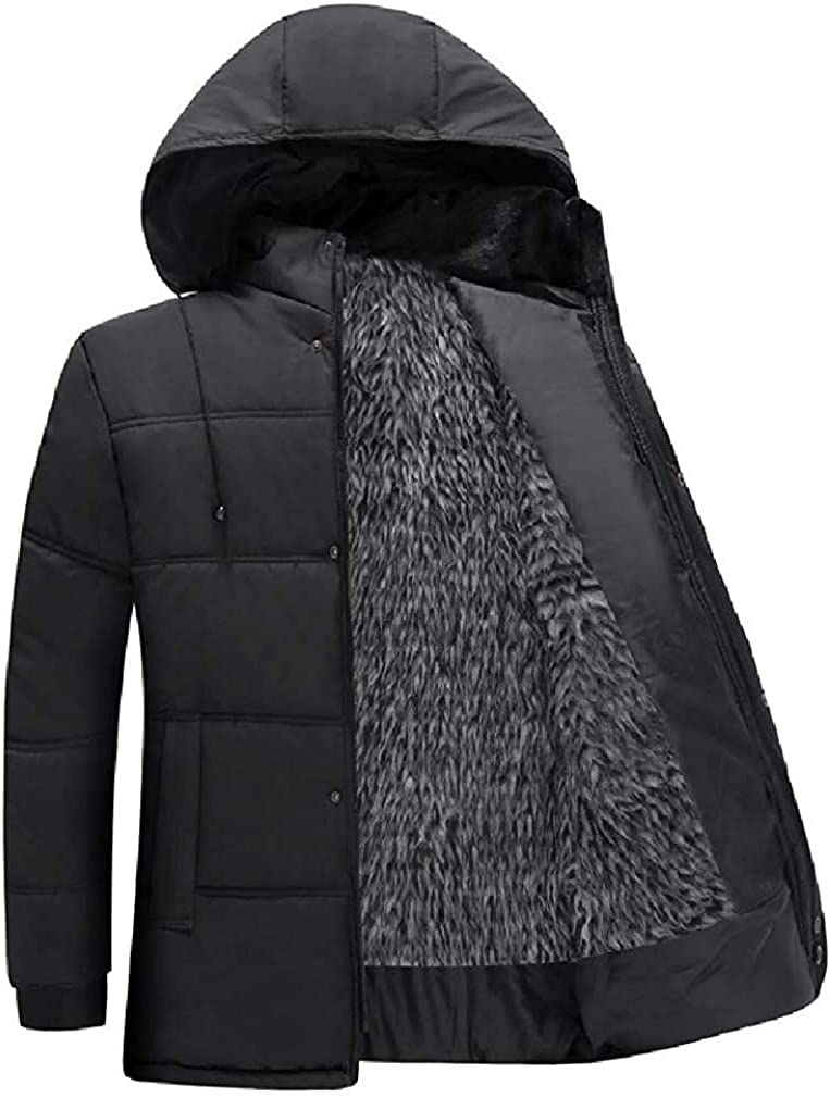 Men Classic Fleece Lined Winter Coat Hooded Outerwear Jacket