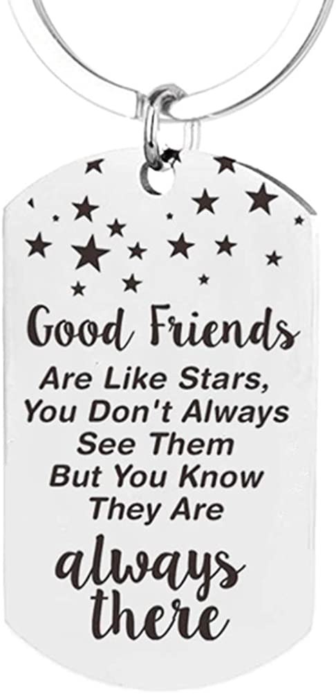Best Friend Keychain, Star Good Friend Key Ring for Women Men Cute Mini Long Distance BFF Dog Tag Kids Adult Girls Special Funny True Friend Leaving Apart Gift for Birthday, Christmas