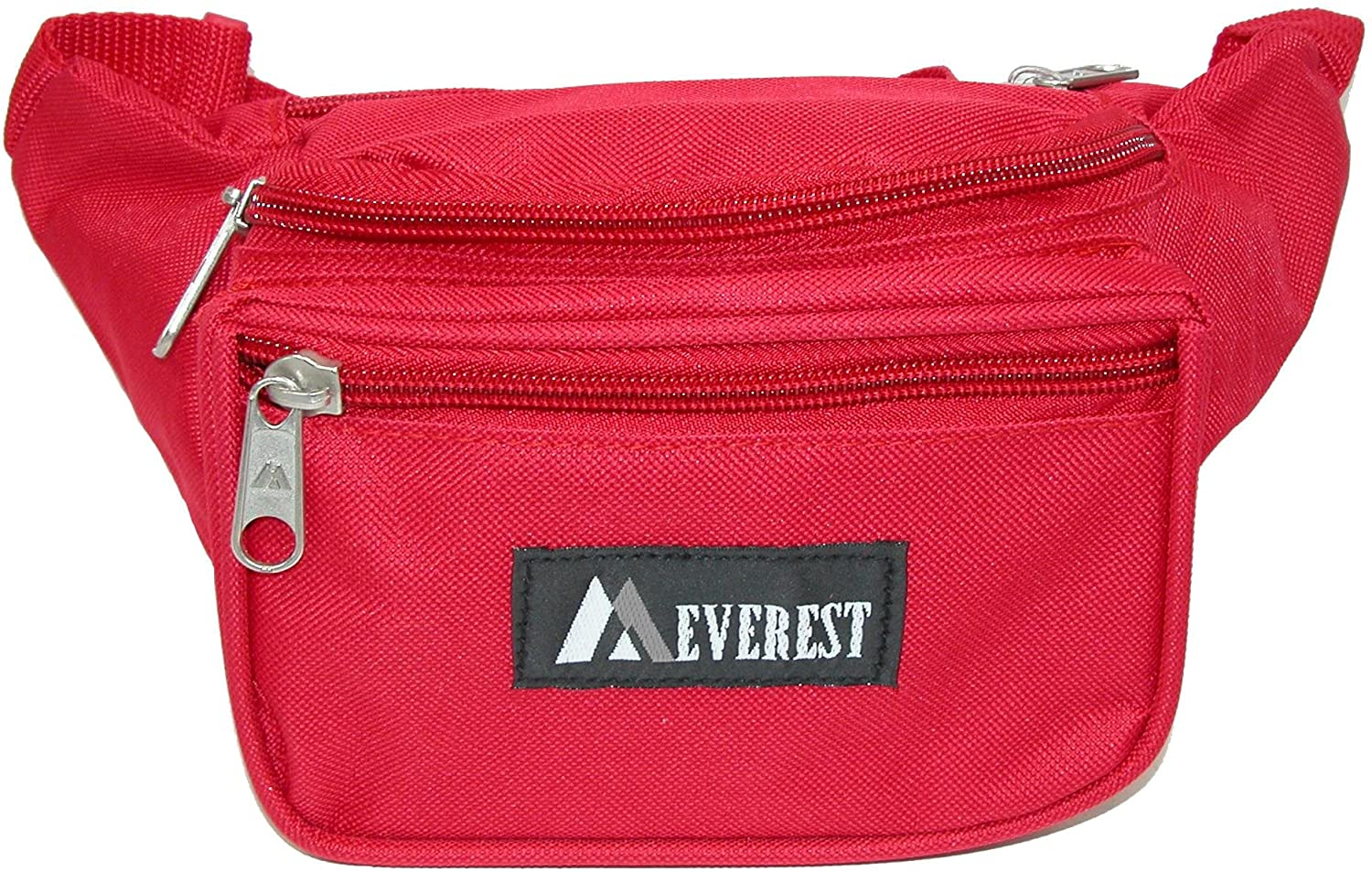 Everest Fabric Multi Pocket Fanny Waist Pack, Red