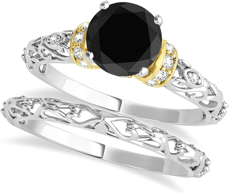 (0.87ct) 18k Two-Tone Gold Black Diamond and Diamond Antique-Style Bridal Set