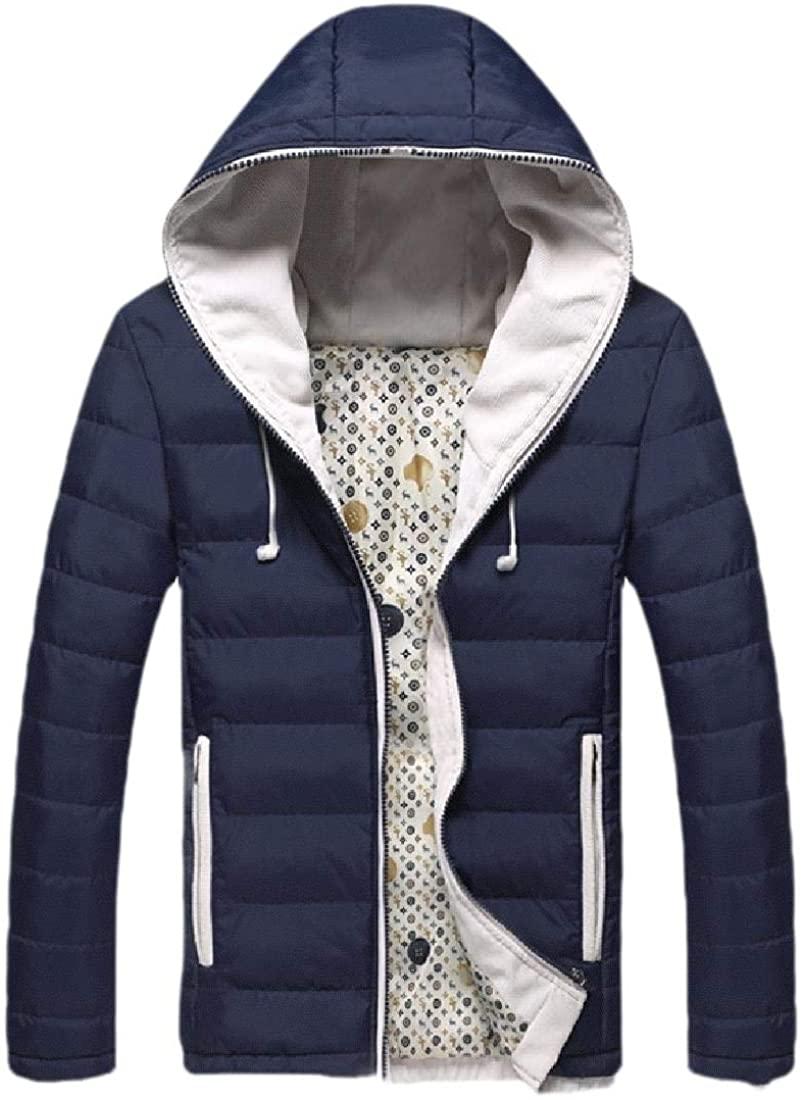 yibiyuan Mens Lightweight Autumn Packable Puffer Down Jacket with Hoodies Coat Outwear