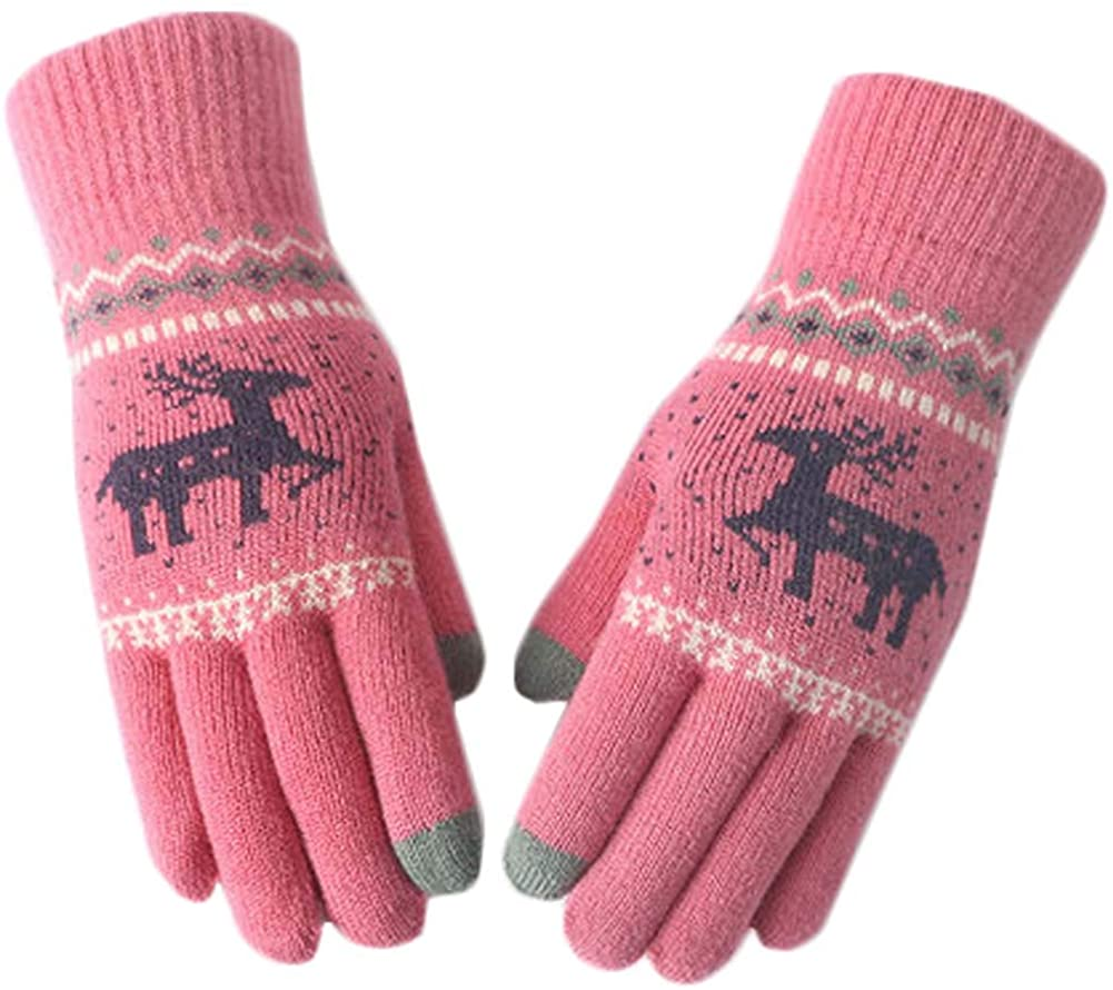 Thick Knit Hand Warmer Mitten Driving Gloves Touch Screen Gloves-Wine Red