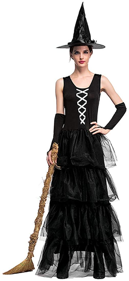 MV Halloween European and American Costume Witch Black Sleeveless Fluffy Cake Dress