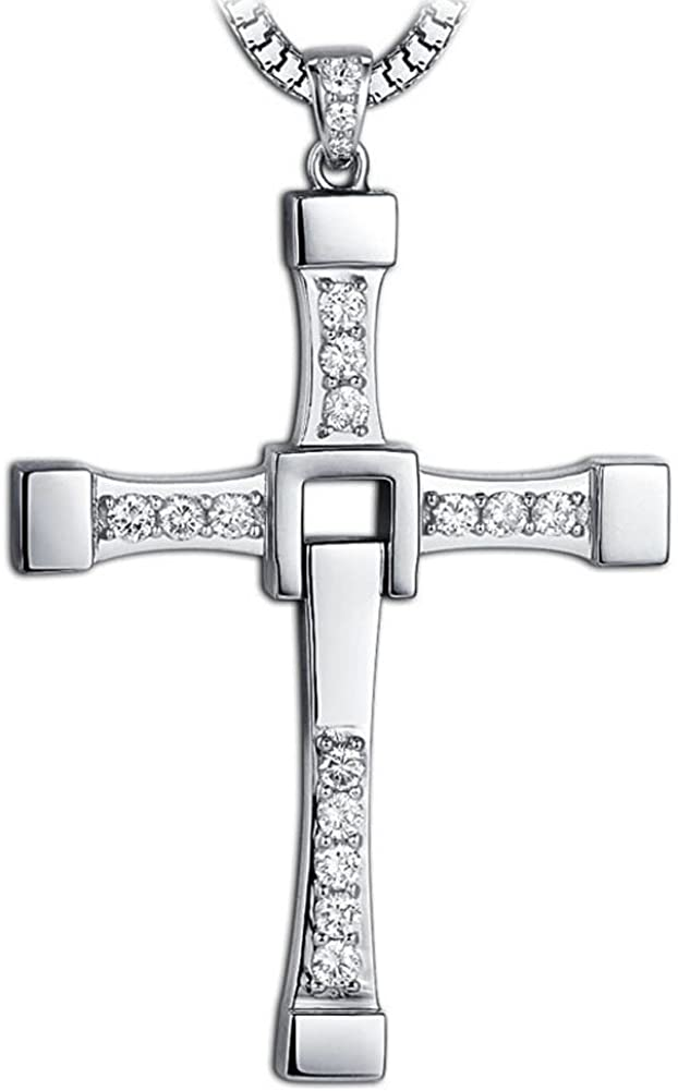 YUMILY Stainless Steel Masculine Mens Religious Cross Pendant Necklace with Silver Chain