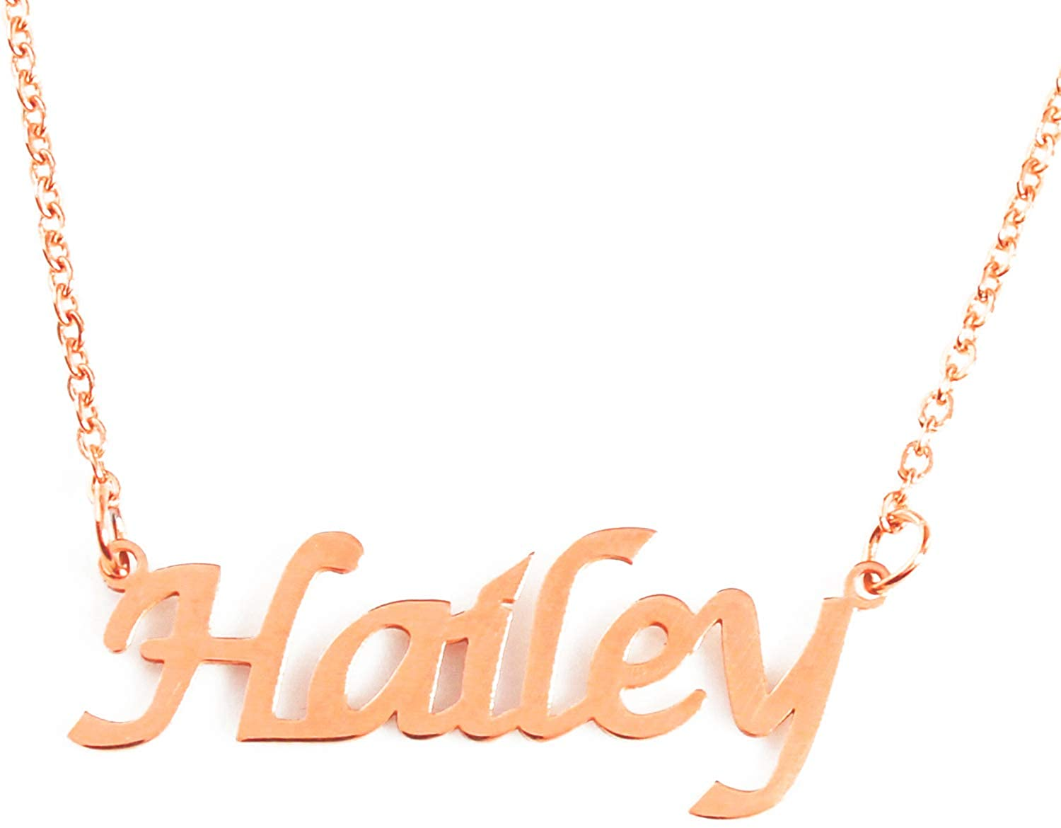 Zacria Hailey Custom Name Necklace Personalized - 18ct Rose Gold Plated