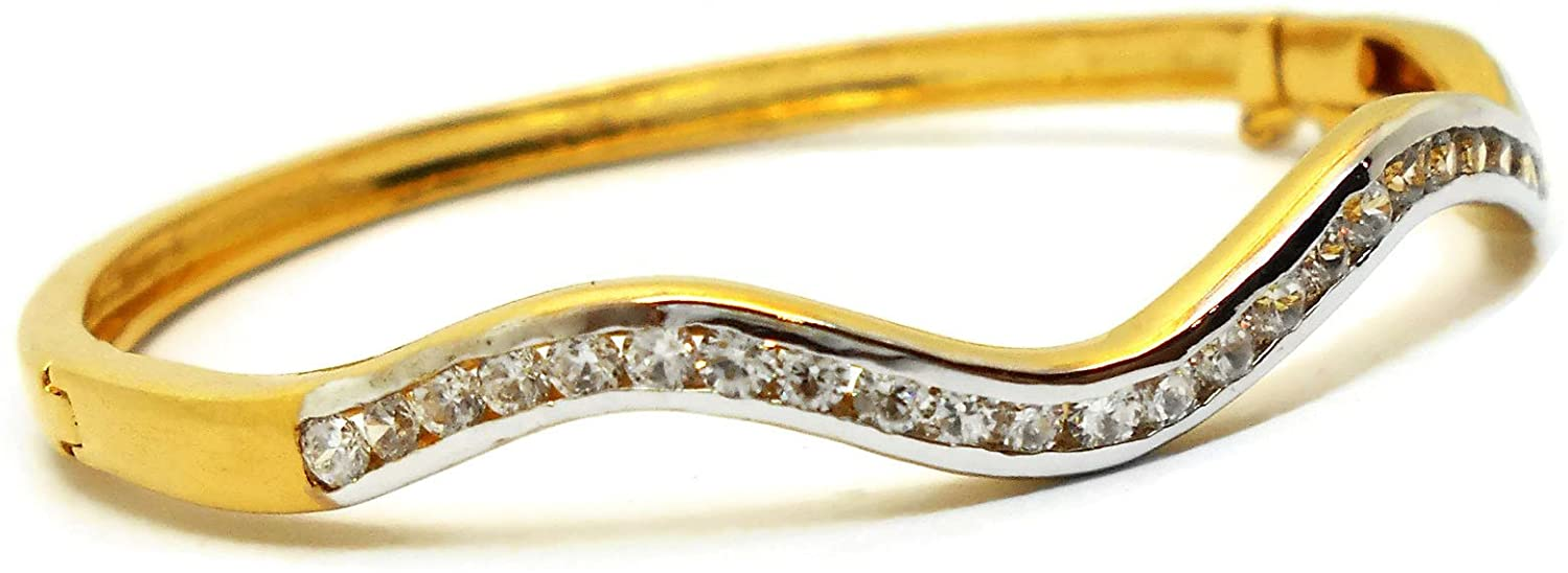 arrawana77 Bangle CZ 18K Thai Jewelry Yellow & White Gold Plated Filled Bangle Bracelet