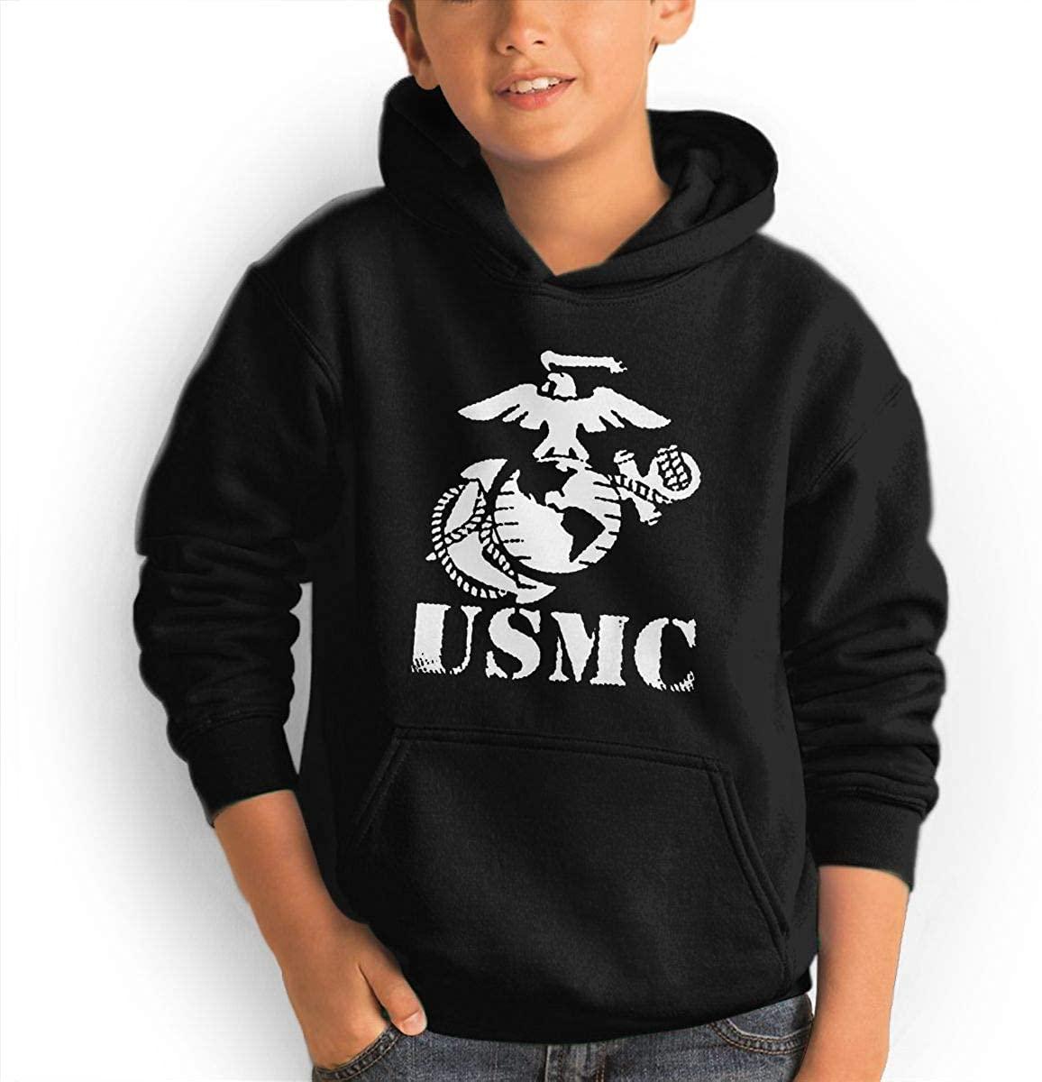Patricia FordT Youth Hooded Sweatshirt Loose Hooded Sweatshirt USMC Marine Corps Logo Black