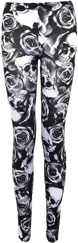 Girls Legging Skull & Roses Print Stylish Fashion Party Dance Leggings 5-13 Year