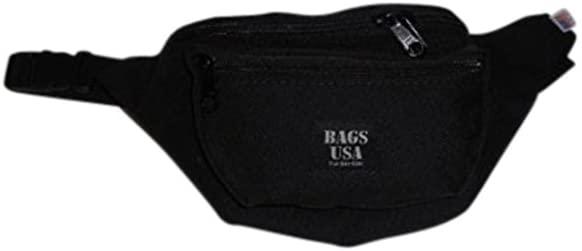 Fanny Pack 3 Compartment,tough Cordura with YKK zipper Made in U.S.A. (Black)