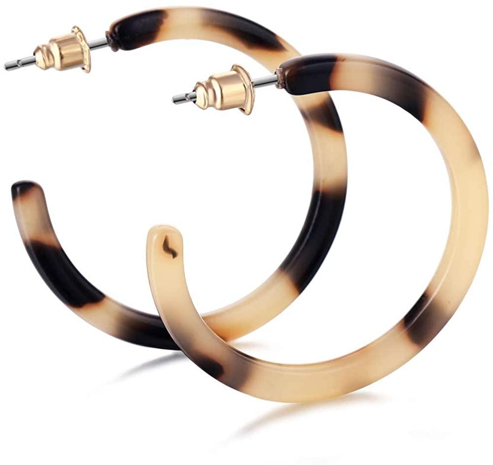 JHWZAIY Round Leopard Hoop Earrings Bohemia Acrylic Resin Circle Stud Earrings for Women Girls (Leopard Print)