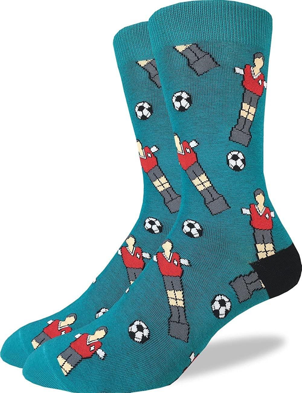 Good Luck Sock Men's Soccer Foosball Crew Socks - Green, Adult Shoe Size 7-12