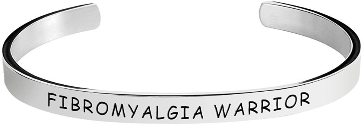 Herlica Fibromyalgia Awareness Bracelet - Fibromyalgia Warrior - Stamped Bracelets for Men/Women