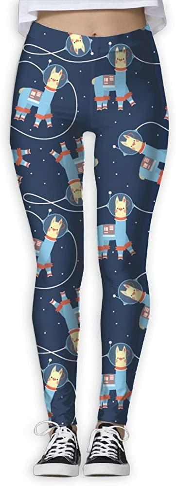 PIOL Womans Space Llama Pattern Elastic Waist Pencil Yoga Pants Yoga Leggings.