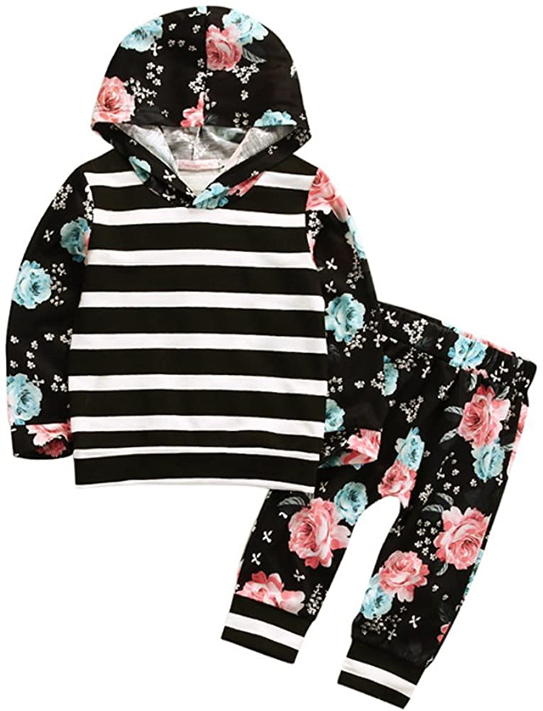 HBER 1-5T Toddler Baby Little Girls Clothes Long Sleeve Stripe Hoodie Shirt Tops + Floral Pants Fall Outfits Sets