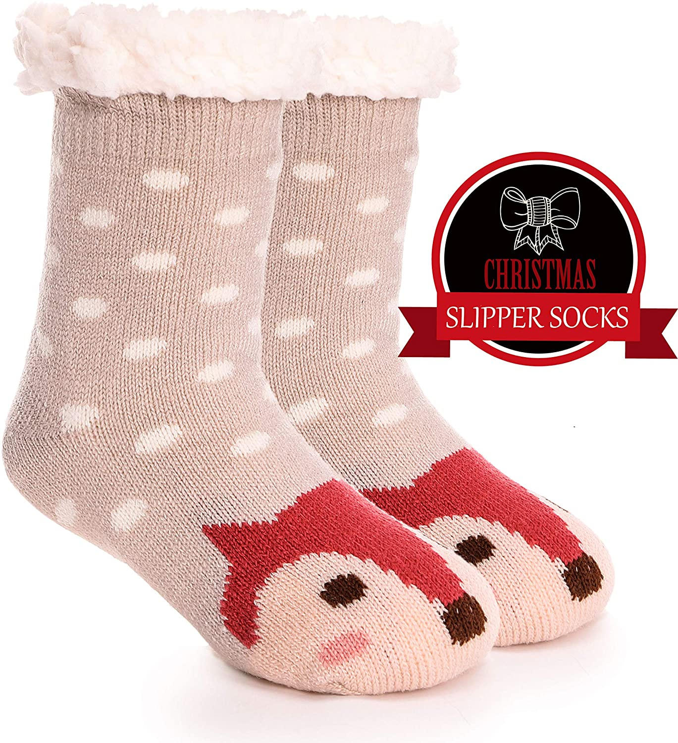 Girls Boys Slipper Socks Fuzzy Thick Warm Soft Heavy Fleece lined Winter Socks Christmas Stockings For Child Kid Toddler