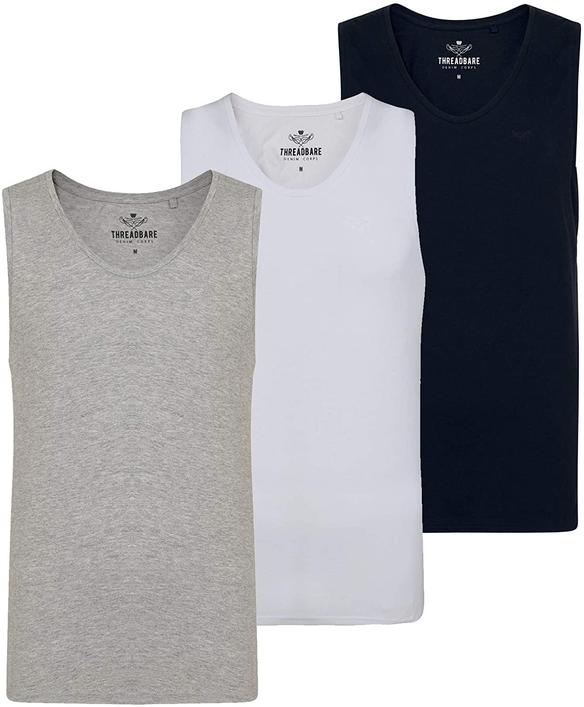 NOROZE Men's T-Shirt 3 Pack Tee Multipack Sleeveless Tank Top (Pack of 3)