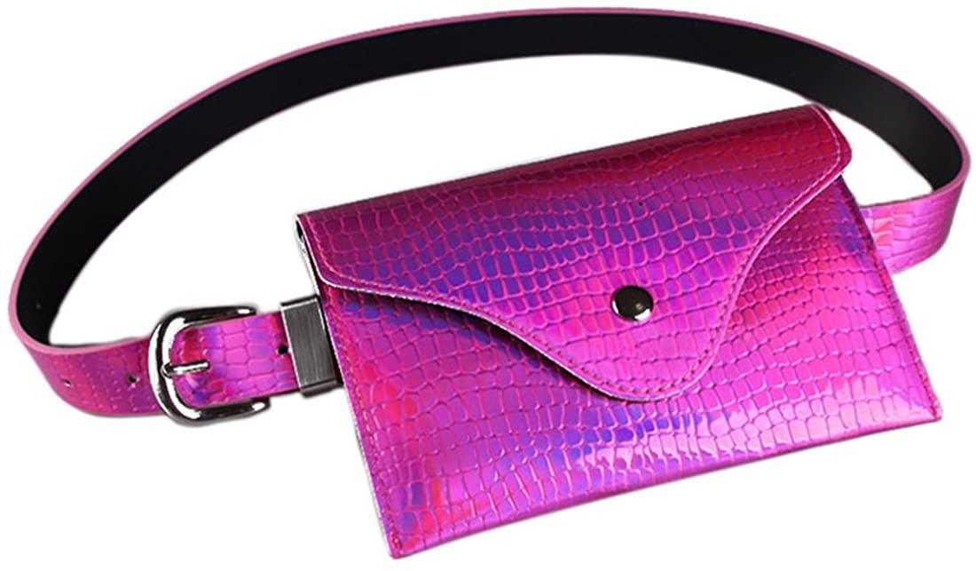 Hologram Fanny Pack Laser Alligator Print Belt Waist Bum Bag Phone Purse for Women