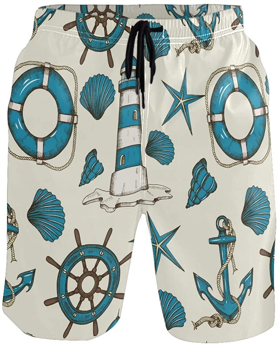 RunningBear Men's Swim Trunks - Nautical Wheel Beach Short Men Quick Dry Beach Board Shorts