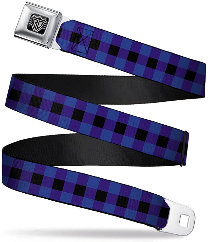 Buckle-Down Seatbelt Belt - Buffalo Plaid Black/Blue - 1.5