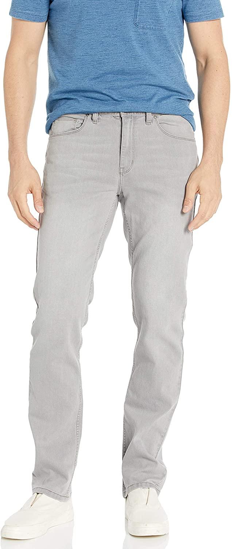 Perry Ellis Mens Slim Fit Stretch Light Grey 5 Pocket Pant