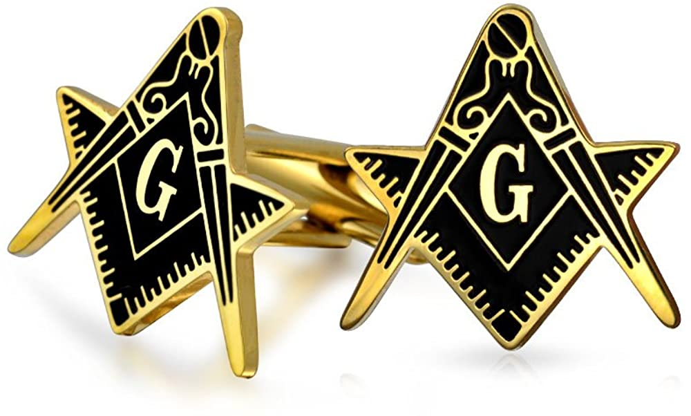 Bling Jewelry Freemasons Masonic Compass Symbol Cufflinks for Men Black Two Tone Gold Plated Stainless Steel Hinge Back