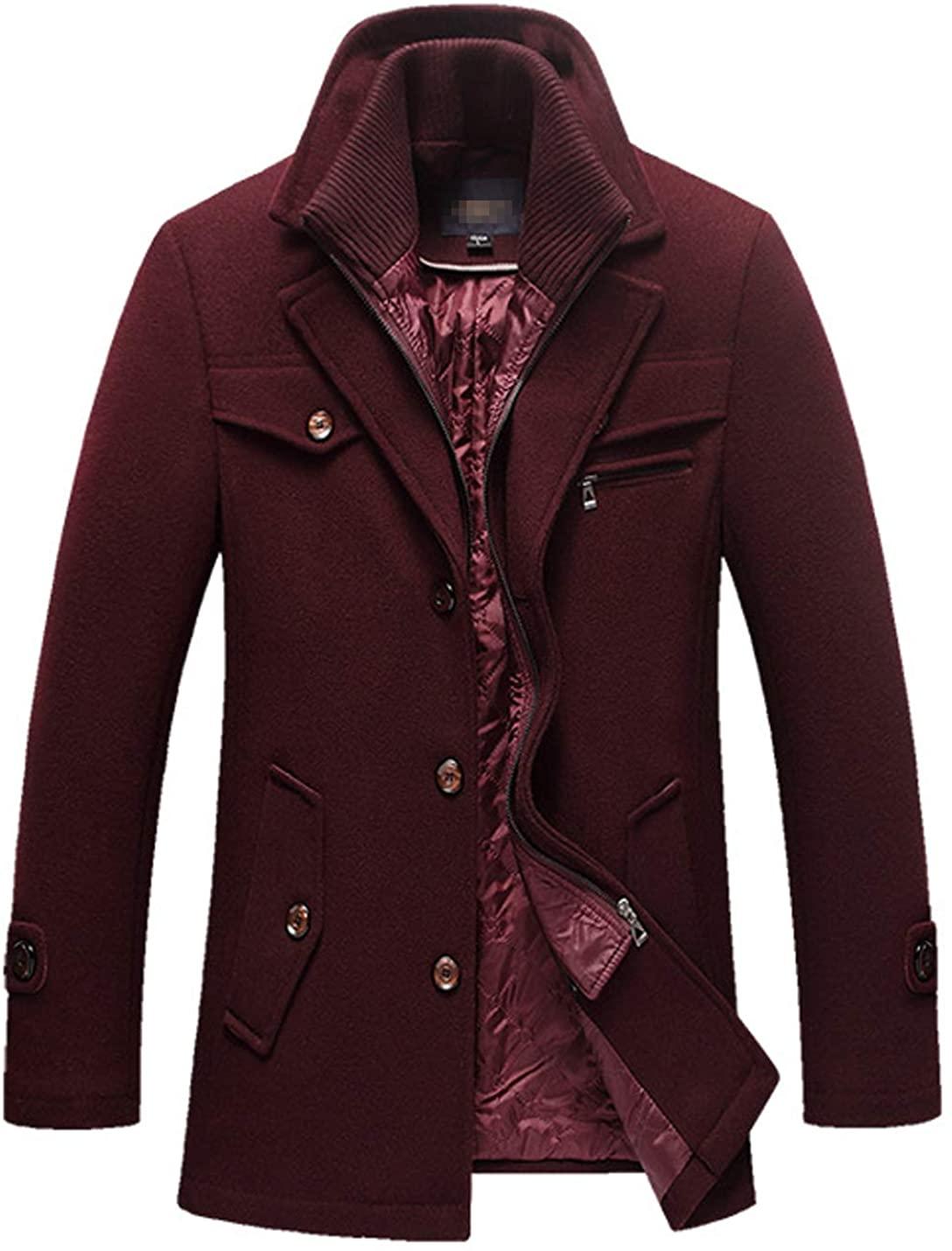 D.B.M Men's Thick Warm Lapel Double Layer Detachable Collar Woolen Coat