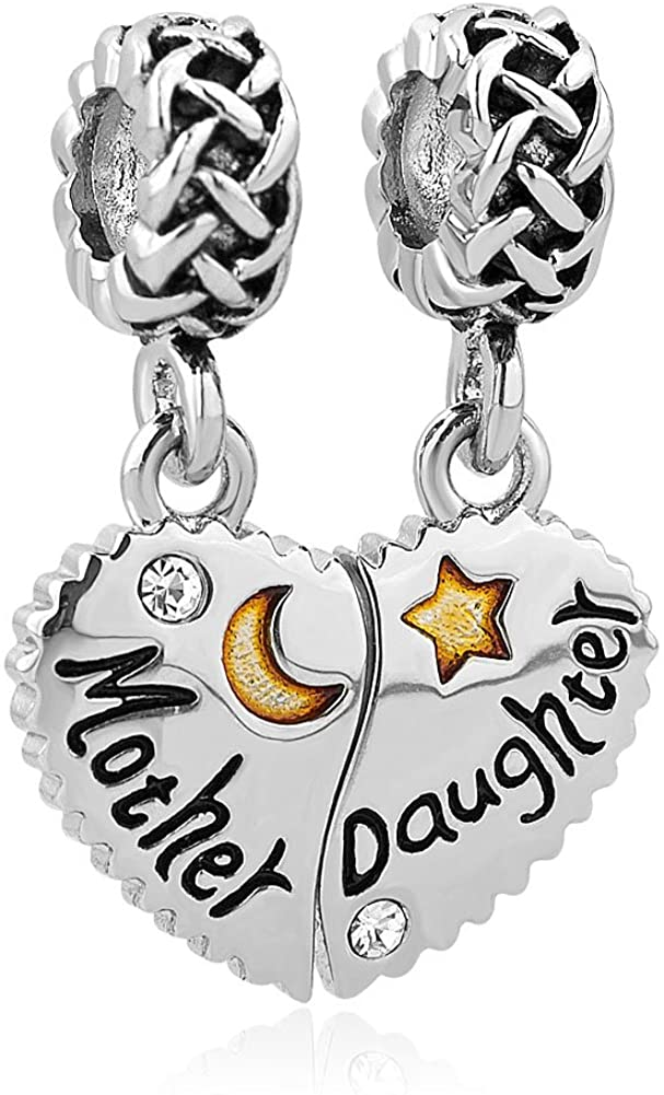 ReisJewelry Mother Daughter Charms Mom I Love You to The Moon &Back Lucky Clover Charm Bead for Bracelets