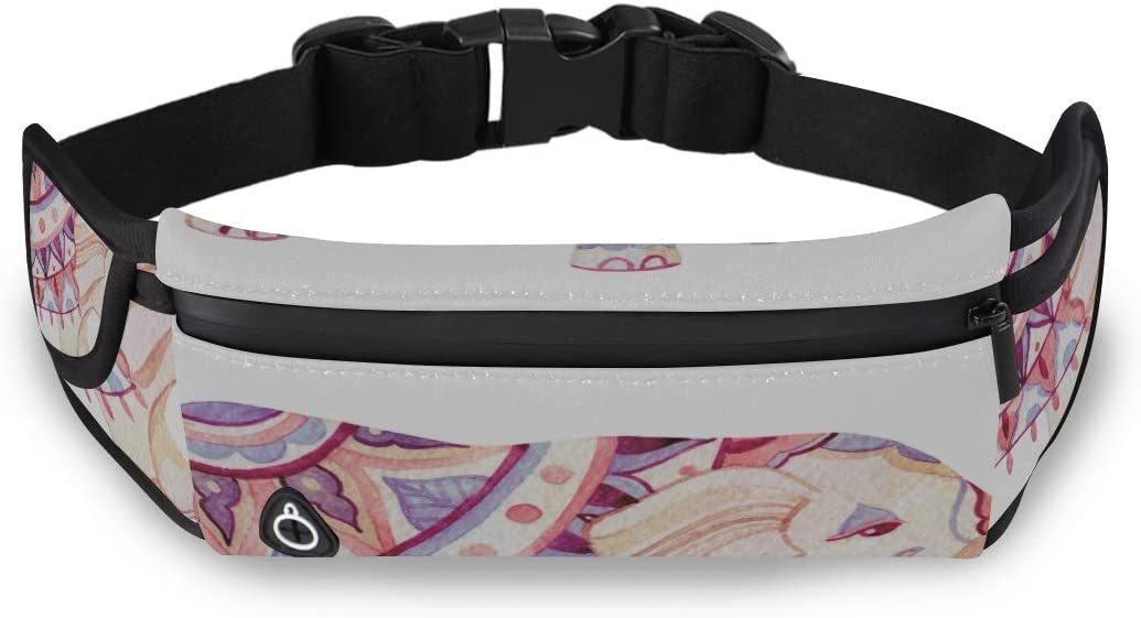 African Ethnice Tattoo Elephant Fashion Fanny Packs Male Fanny Packs Waist Pack Backpack With Adjustable Strap For Workout Traveling Running