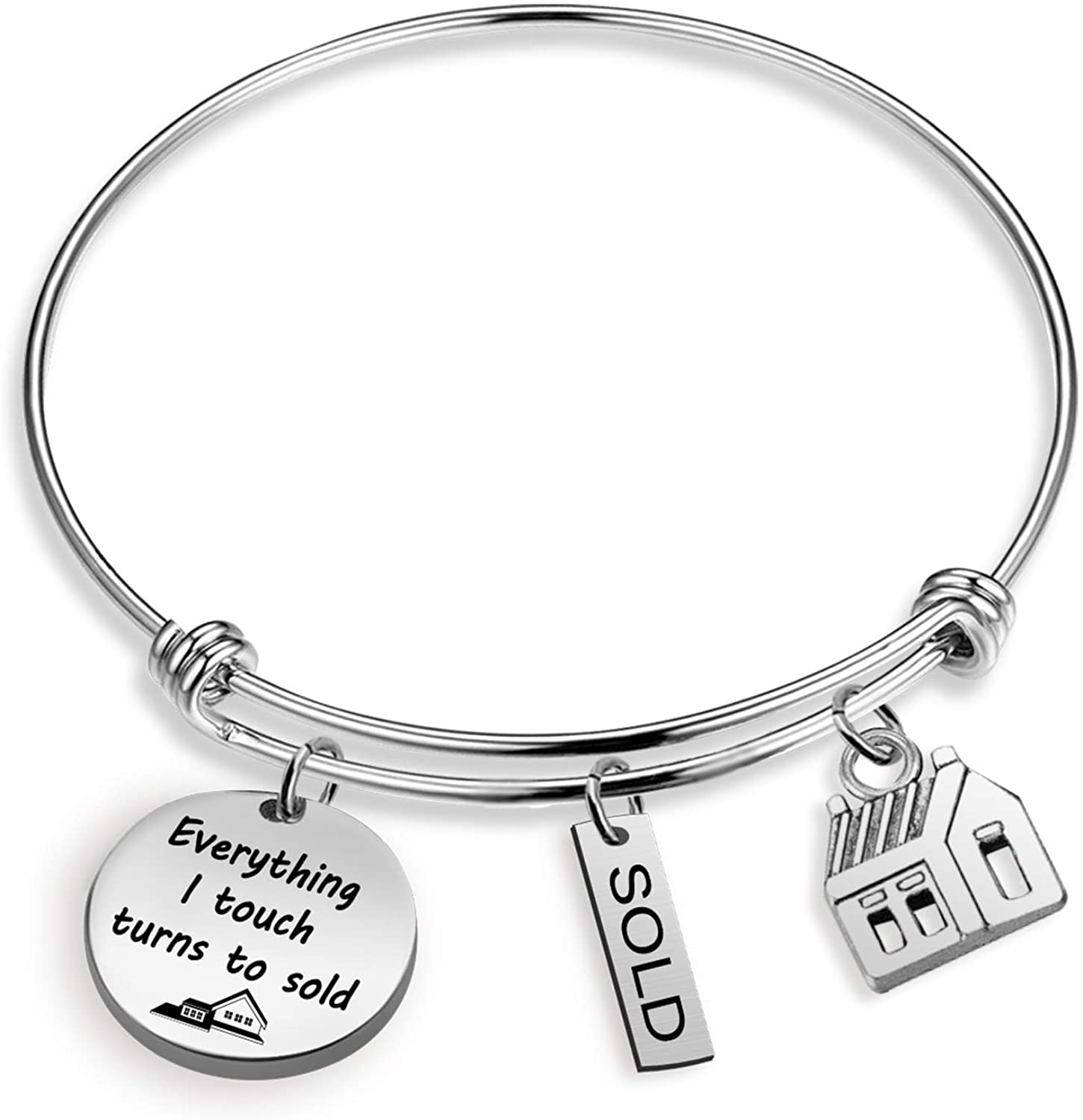 Realtor Bracelet Everything I Touch Turns To Sold Realtor House Sold Jewelry Appreciation Gifts for Realtor Estate Agent(everything touch sold BR)