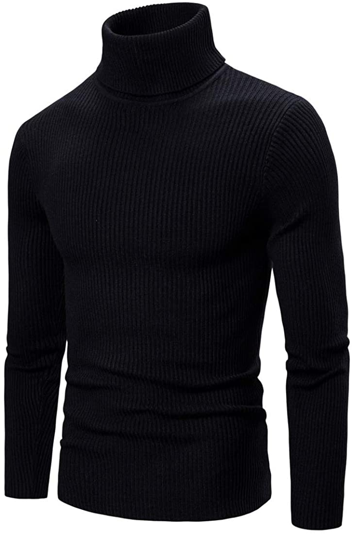 Lerbe Men's Casual Turtleneck Sweater Warm Slim Fit Knitted Pullover Top