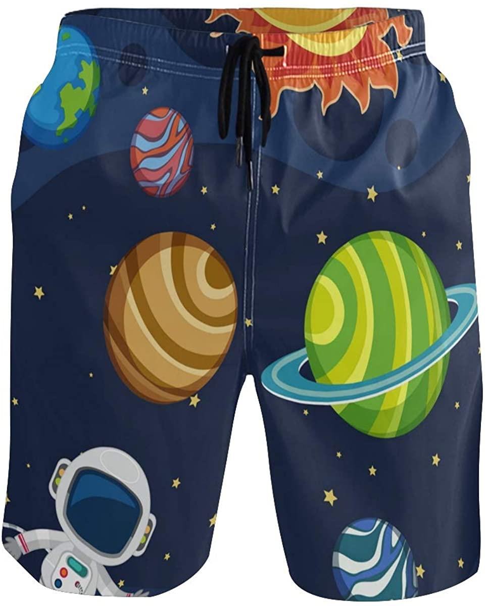 Mens Swim Trunks Quick Dry Universe Planet Stars Solar System Short Swim Trunks with Pocket Beach Shorts