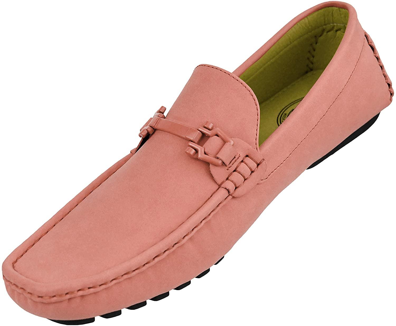 Amali Danny - Mens Dress Shoes - Moccasins for Men - Mens Loafers - Mens Driving - Shoes - Slip On Shoes Men - Loafer Shoes for Men, Pink Size 8.5