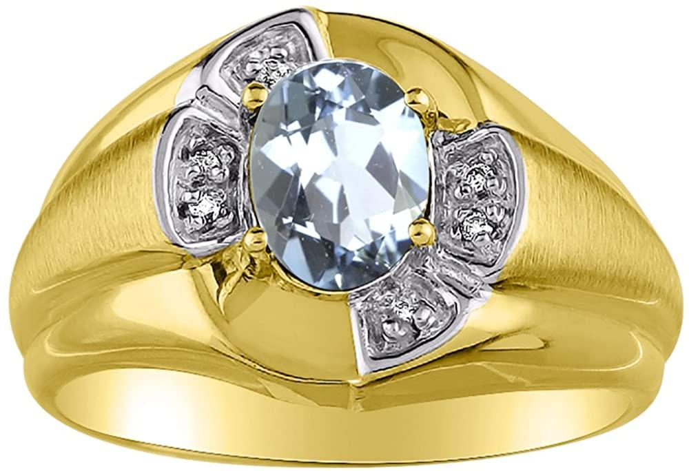 Diamond & Simulated Aquamarine Ring 14K Yellow or 14K White Gold