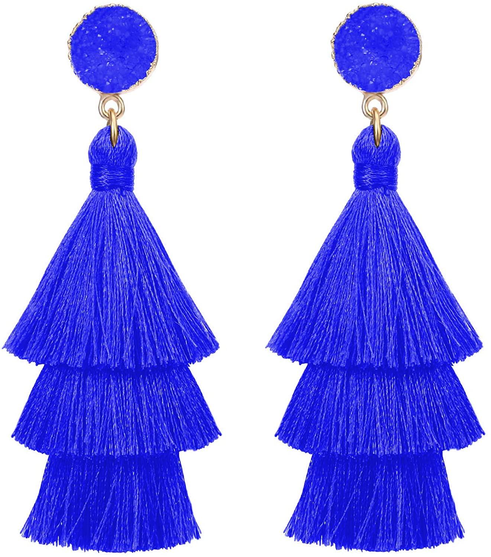 ColorfulLayered Tassel Earrings Dangle Drop Tiered Tassel Bohemian Druzy Stud Earrings Girls Women Gifts