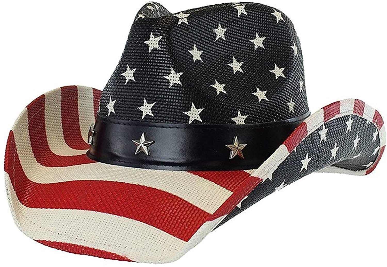 Men's Classic Stars & Stripes Cowboy Hat w/ Western Shape-It Brim