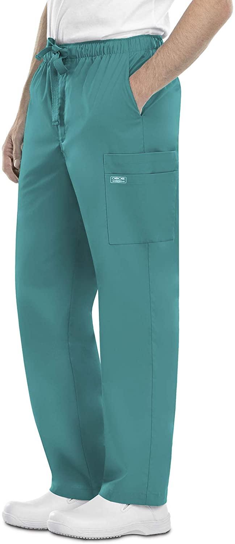 Cherokee Workwear Core Stretch Men's Drawstring Cargo Scrub Pant, S, Teal Blue