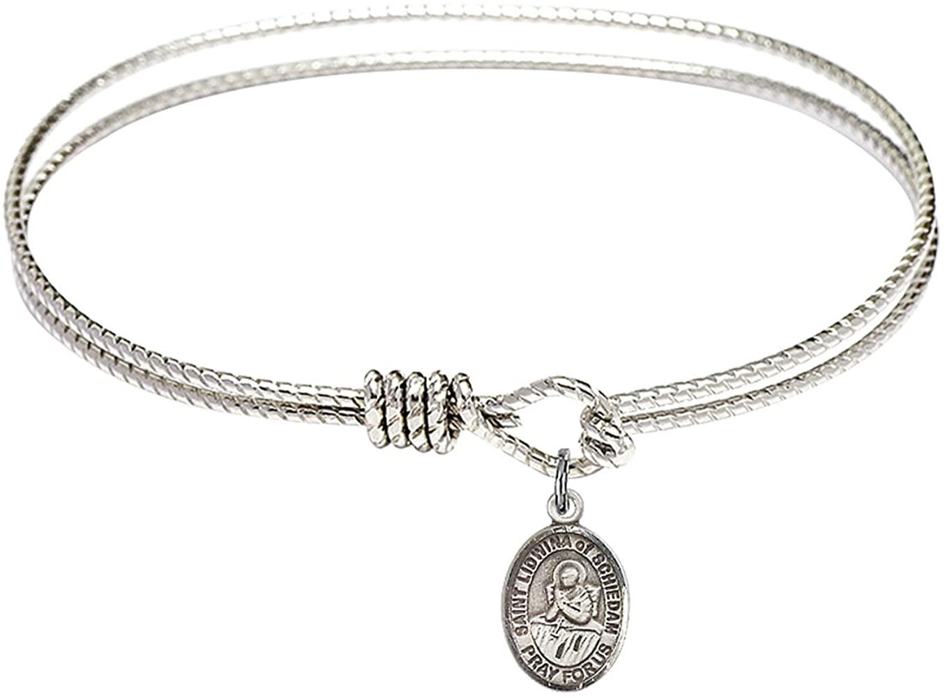 DiamondJewelryNY Eye Hook Bangle Bracelet with a St. Lidwina of Schiedam Charm.