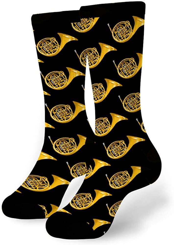 Soft Fance Novelty Sock of Moisture Wicking Wear-resistant S,Mid-Calf Athletic Socks for Men Women Boys Girls Teens (Golden French Horn Black)