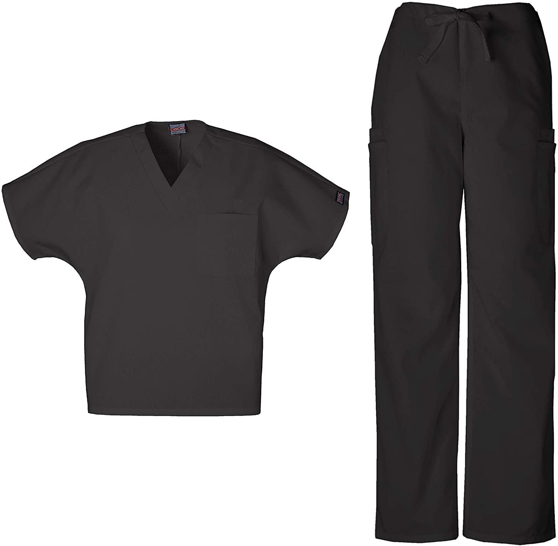 CHEROKEE Workwear Men's Dental/Medical Uniform Scrub Set - 4777 V-Neck Scrub Top & 4000 Drawstring Cargo Pants