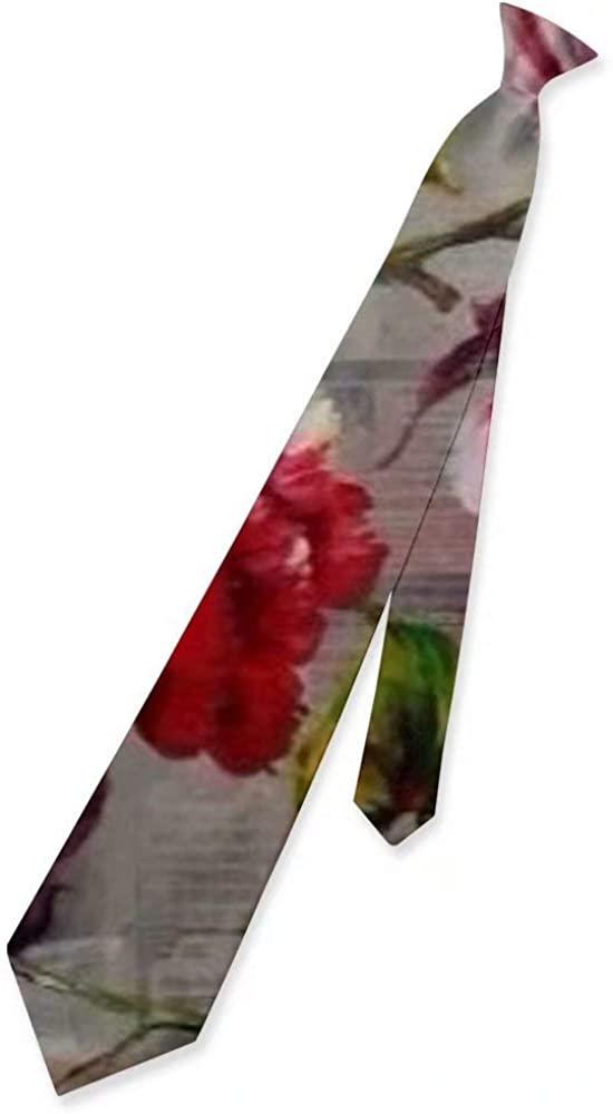 Men Fashion Skinny Polyster Silk Tie Floral Necktie