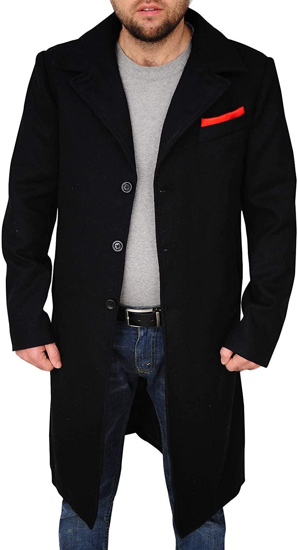 TrendHoop New Mens Black Wool & Cashmere Great Coat Long Overcoat Heavy Warm Winter