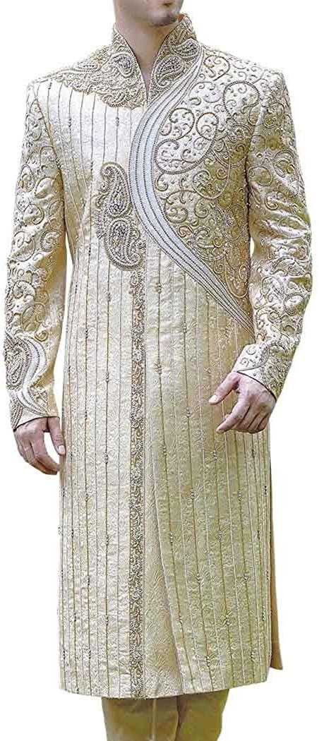 INMONARCH Mens IndianSuit Ivory Wedding Sherwani Western Attire Traditional SH0443R48 48 Regular Ivory