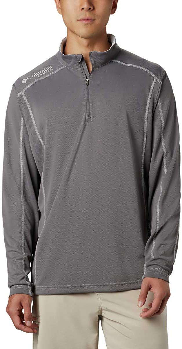Columbia Men's PFG Low Drag 1/4 Zip Pullover, Moisture Wicking, Sun Protection