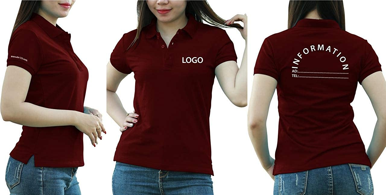Add Your Logo Text Design Image Picture. Custom Polo. Personalized Polo. Printed On Polo & T-Shirt Uniform with Multi Sides. International Pack of 10 Dark Red